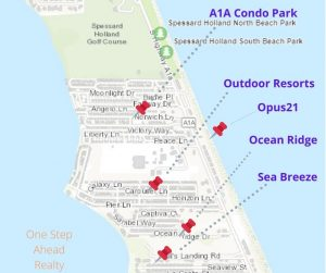 For Sale: Ocean Ridge, Melbourne Beach MAP and nearby communities